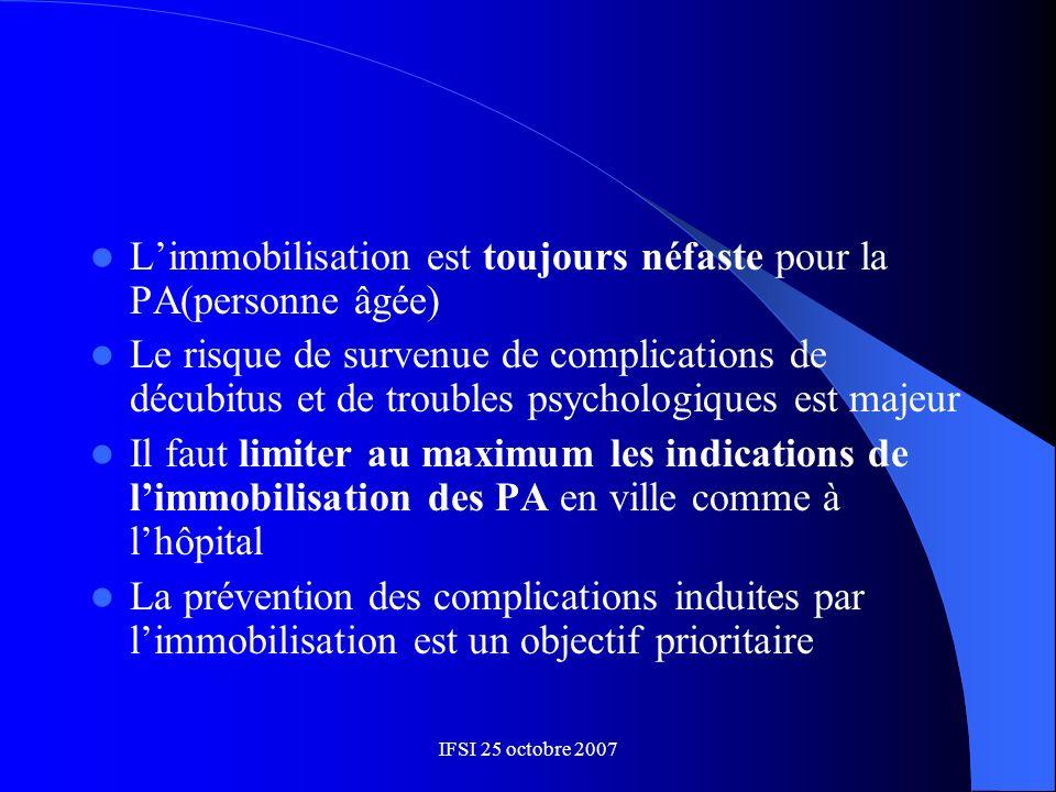 IFSI 25 octobre 2007 Limmobilisation est toujours néfaste pour la PA(personne âgée) Le risque de survenue de complications de décubitus et de troubles