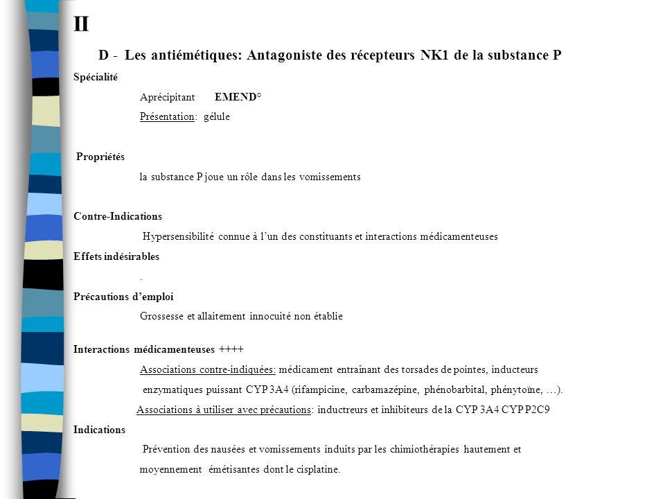 II D - Les antiémétiques: Antagoniste des récepteurs NK1 de la substance P Spécialité Aprécipitant EMEND° Présentation: gélule Propriétés la substance
