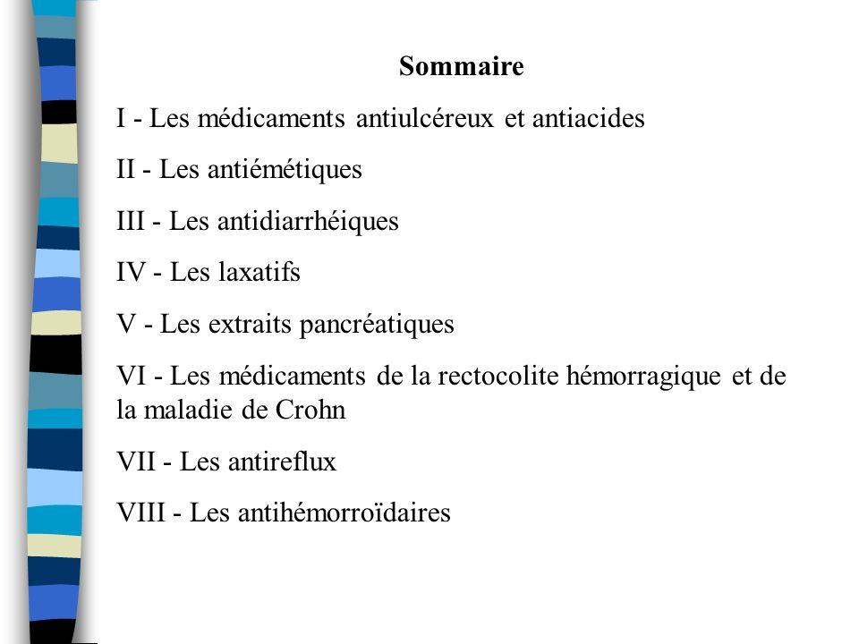 Sommaire I - Les médicaments antiulcéreux et antiacides II - Les antiémétiques III - Les antidiarrhéiques IV - Les laxatifs V - Les extraits pancréati