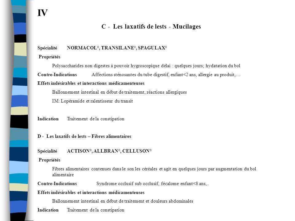 IV C - Les laxatifs de lests - Mucilages SpécialitéNORMACOL°, TRANSILANE°, SPAGULAX° Propriétés Polysaccharides non digestes à pouvoir hygroscopique d