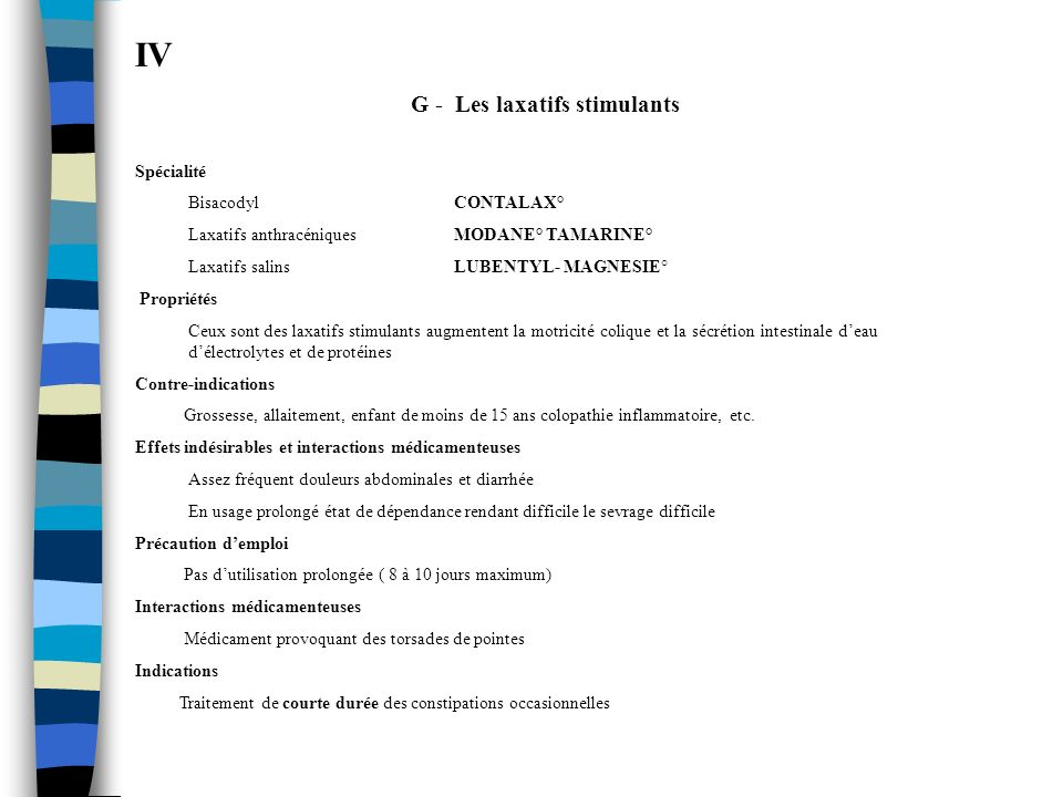 IV G - Les laxatifs stimulants Spécialité Bisacodyl CONTALAX° Laxatifs anthracéniques MODANE° TAMARINE° Laxatifs salins LUBENTYL- MAGNESIE° Propriétés