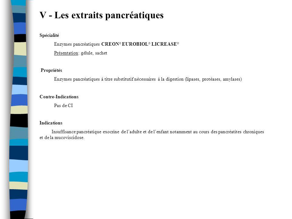 V - Les extraits pancréatiques Spécialité Enzymes pancréatiques CREON° EUROBIOL° LICREASE° Présentation: gélule, sachet Propriétés Enzymes pancréatiqu