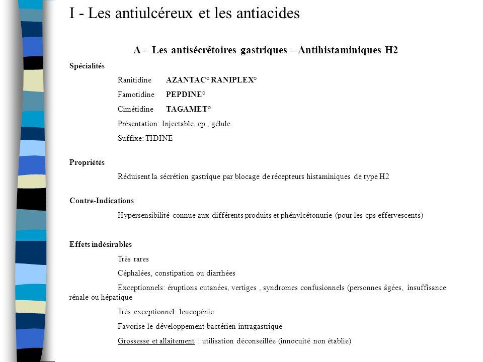 I - Les antiulcéreux et les antiacides A - Les antisécrétoires gastriques – Antihistaminiques H2 Spécialités Ranitidine AZANTAC° RANIPLEX° FamotidineP