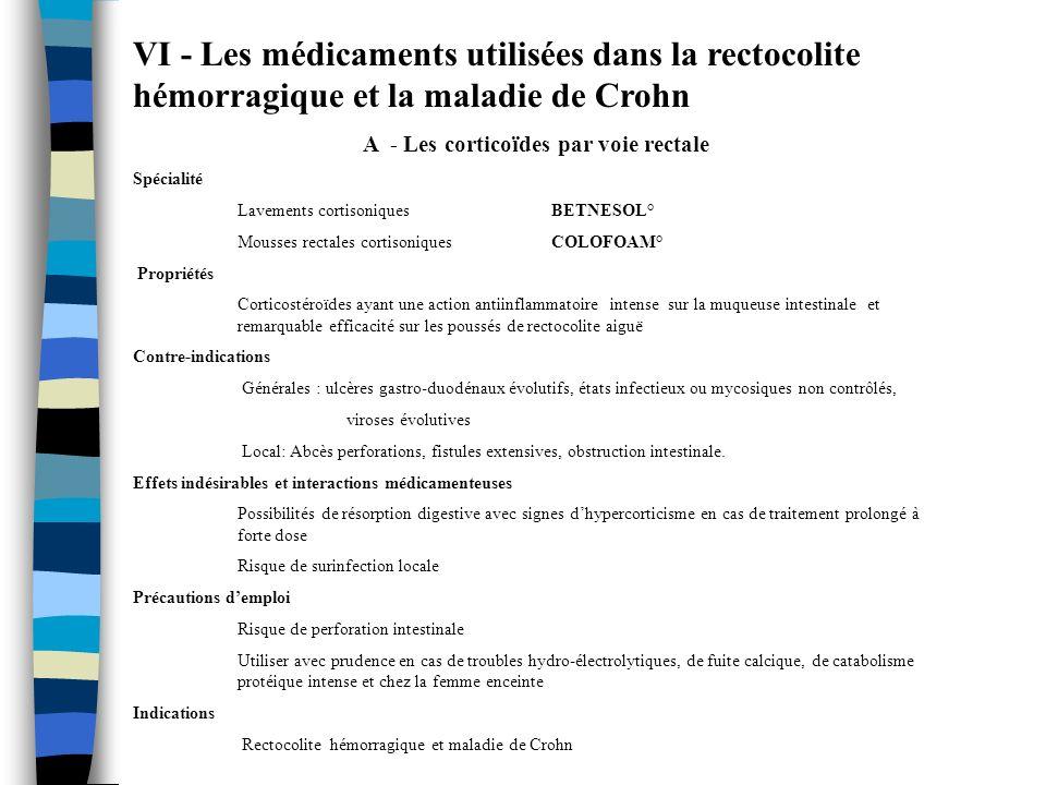VI - Les médicaments utilisées dans la rectocolite hémorragique et la maladie de Crohn A - Les corticoïdes par voie rectale Spécialité Lavements corti