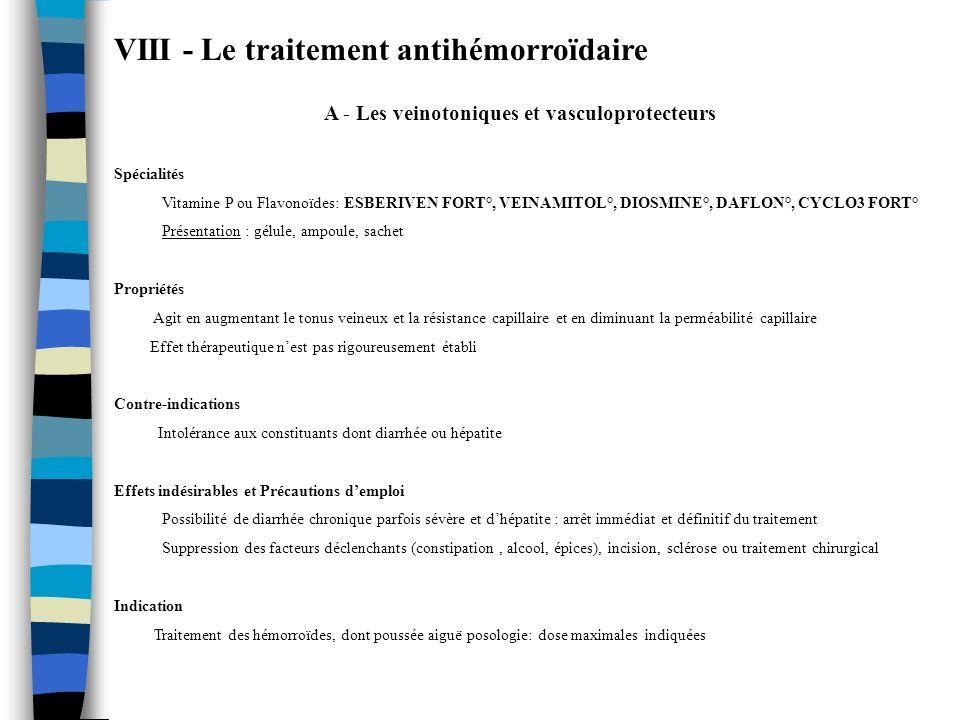 VIII - Le traitement antihémorroïdaire A - Les veinotoniques et vasculoprotecteurs Spécialités Vitamine P ou Flavonoïdes: ESBERIVEN FORT°, VEINAMITOL°