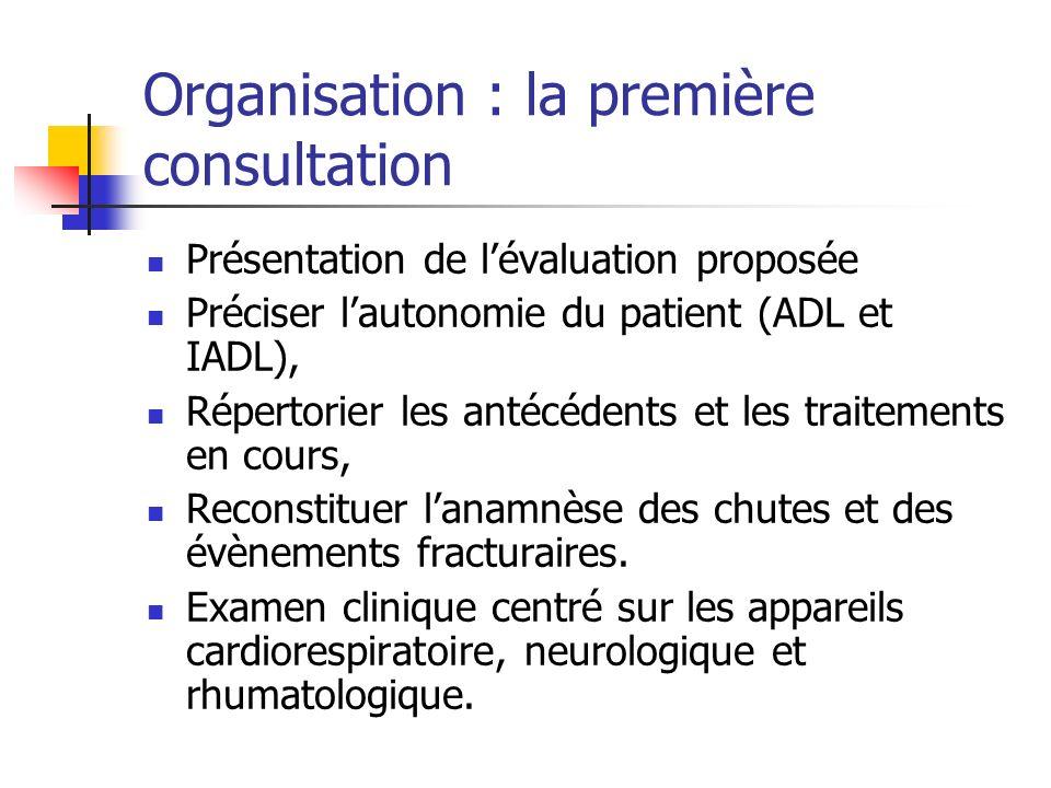 Organisation : la première consultation Présentation de lévaluation proposée Préciser lautonomie du patient (ADL et IADL), Répertorier les antécédents