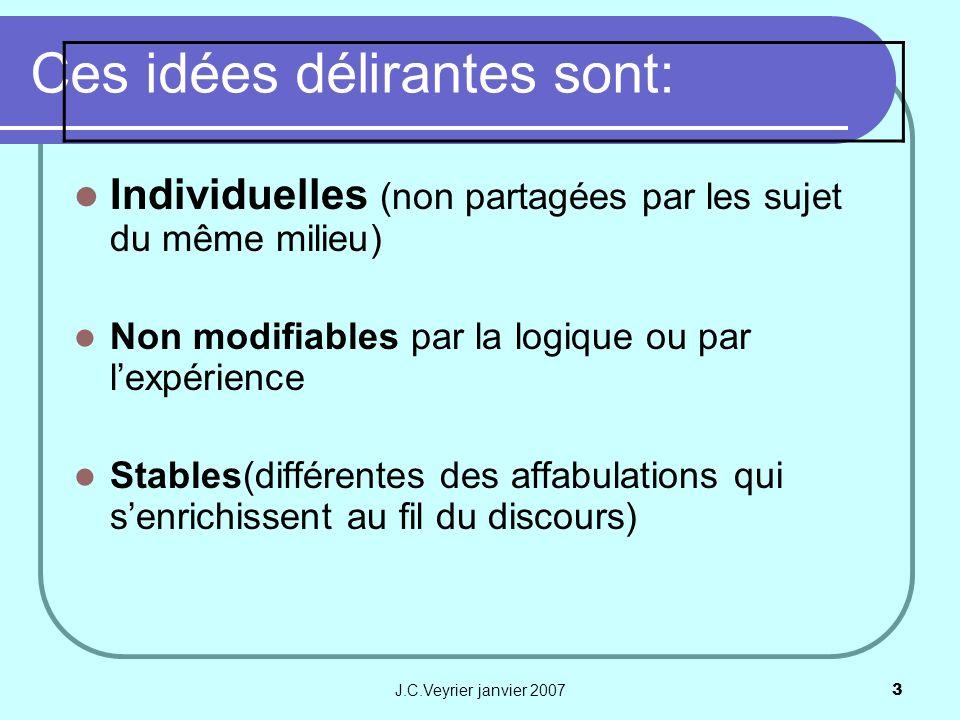 J.C.Veyrier janvier 20073 Ces idées délirantes sont: Individuelles (non partagées par les sujet du même milieu) Non modifiables par la logique ou par