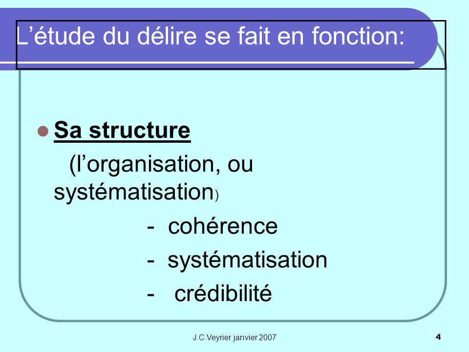 J.C.Veyrier janvier 20074 Létude du délire se fait en fonction: Sa structure (lorganisation, ou systématisation ) - cohérence - systématisation - créd