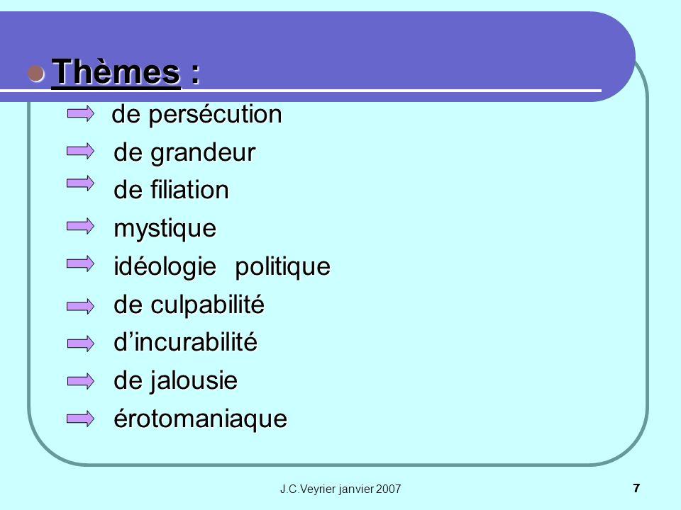 J.C.Veyrier janvier 20077 Thèmes : Thèmes : de persécution de persécution de grandeur de grandeur de filiation de filiation mystique mystique idéologi
