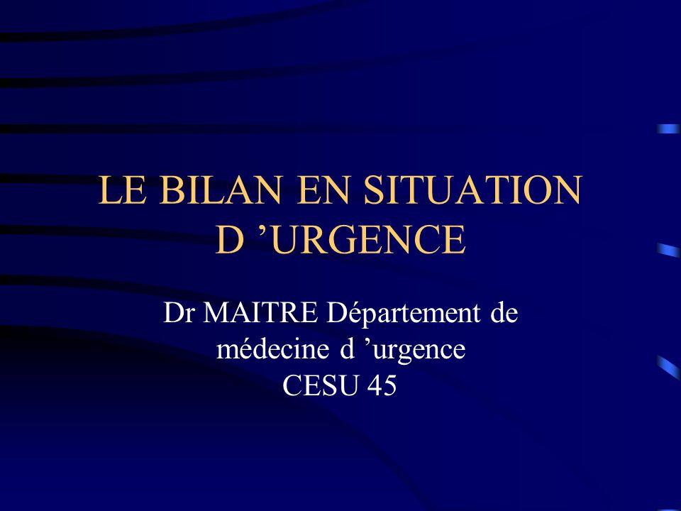 LE BILAN EN SITUATION D URGENCE Dr MAITRE Département de médecine d urgence CESU 45