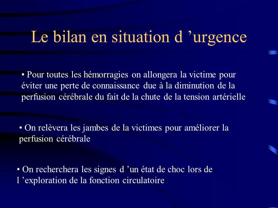 Le bilan en situation d urgence Pour toutes les hémorragies on allongera la victime pour éviter une perte de connaissance due à la diminution de la pe
