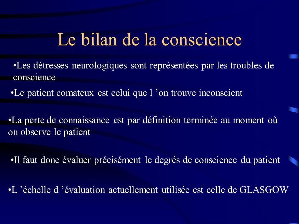 Le bilan de la conscience Les détresses neurologiques sont représentées par les troubles de conscience Le patient comateux est celui que l on trouve i