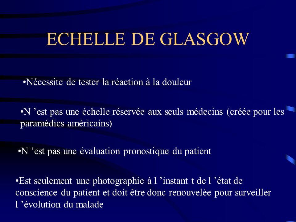 ECHELLE DE GLASGOW Nécessite de tester la réaction à la douleur N est pas une échelle réservée aux seuls médecins (créée pour les paramédics américain