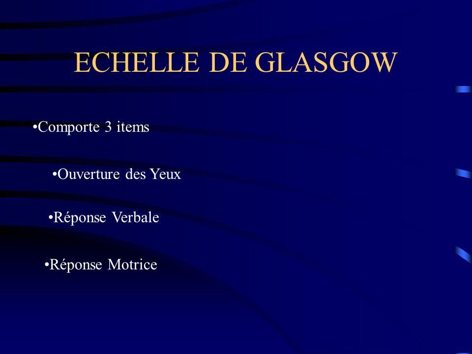 ECHELLE DE GLASGOW Comporte 3 items Ouverture des Yeux Réponse Verbale Réponse Motrice