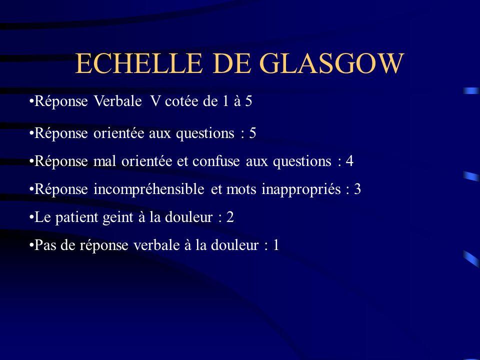 ECHELLE DE GLASGOW Réponse Verbale V cotée de 1 à 5 Réponse orientée aux questions : 5 Réponse mal orientée et confuse aux questions : 4 Réponse incom