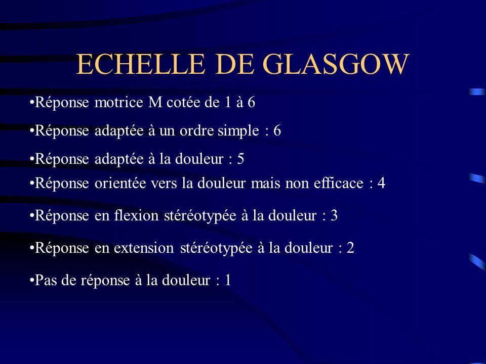 ECHELLE DE GLASGOW Réponse motrice M cotée de 1 à 6 Réponse adaptée à un ordre simple : 6 Réponse adaptée à la douleur : 5 Réponse orientée vers la do