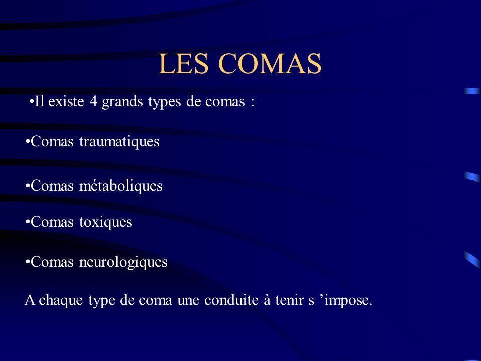 LES COMAS Il existe 4 grands types de comas : Comas traumatiques Comas métaboliques Comas toxiques Comas neurologiques A chaque type de coma une condu