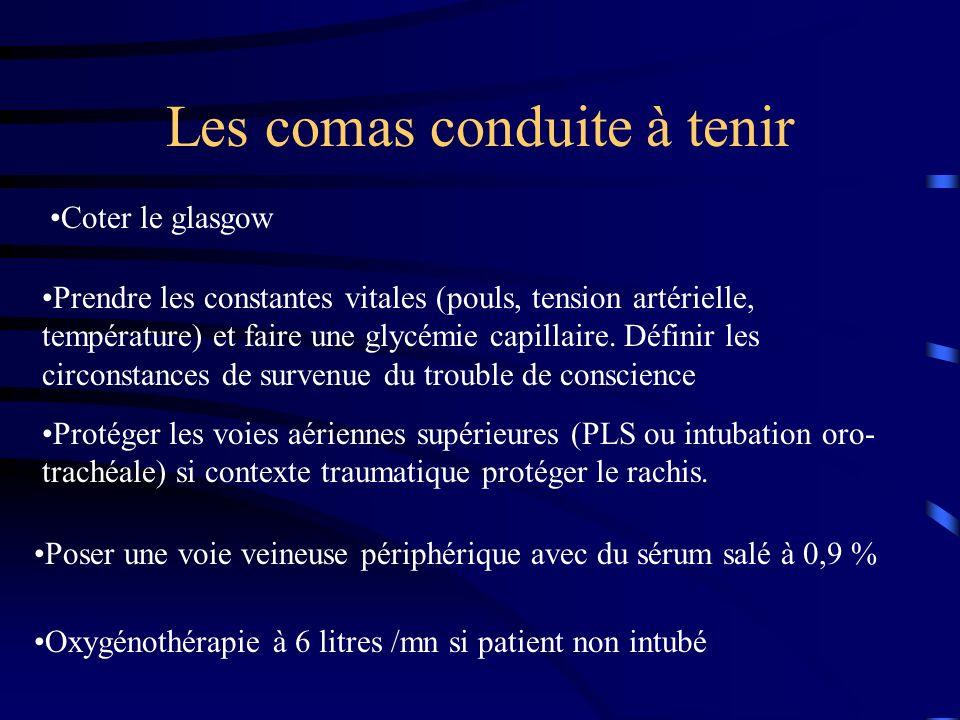 Les comas conduite à tenir Coter le glasgow Prendre les constantes vitales (pouls, tension artérielle, température) et faire une glycémie capillaire.