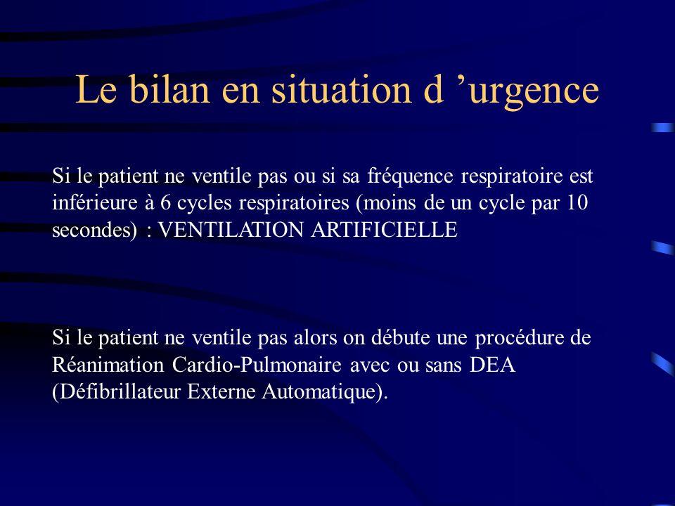 Le bilan en situation d urgence Si le patient ne ventile pas ou si sa fréquence respiratoire est inférieure à 6 cycles respiratoires (moins de un cycl