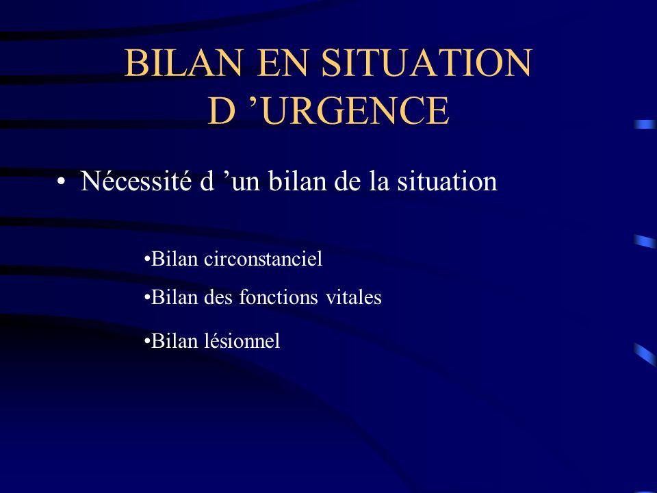 BILAN EN SITUATION D URGENCE Nécessité d un bilan de la situation Bilan circonstanciel Bilan des fonctions vitales Bilan lésionnel