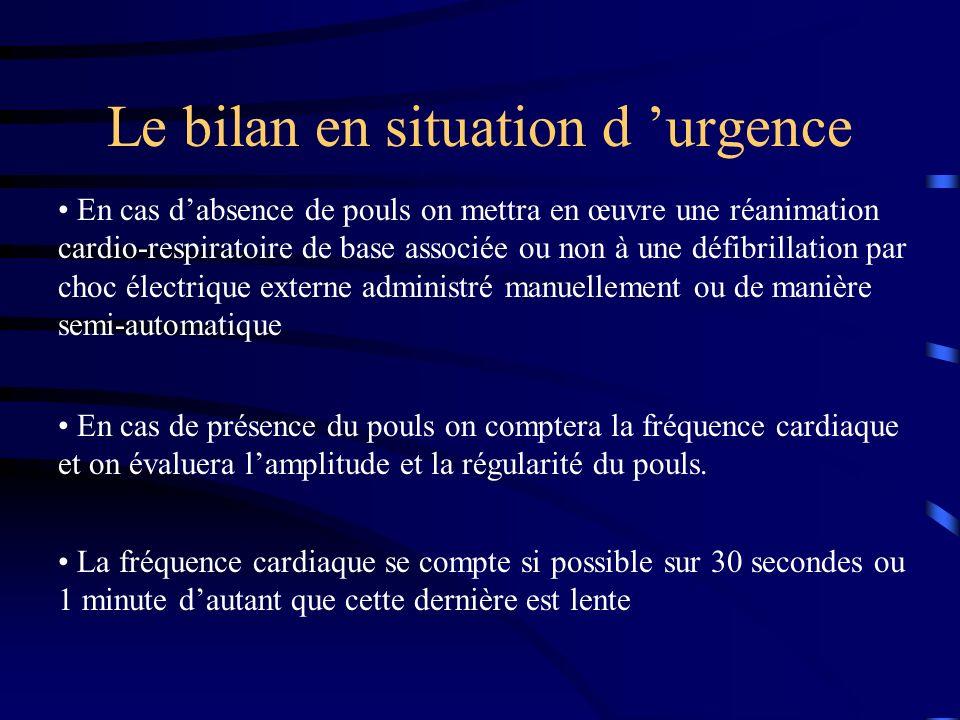 Le bilan en situation d urgence En cas dabsence de pouls on mettra en œuvre une réanimation cardio-respiratoire de base associée ou non à une défibril