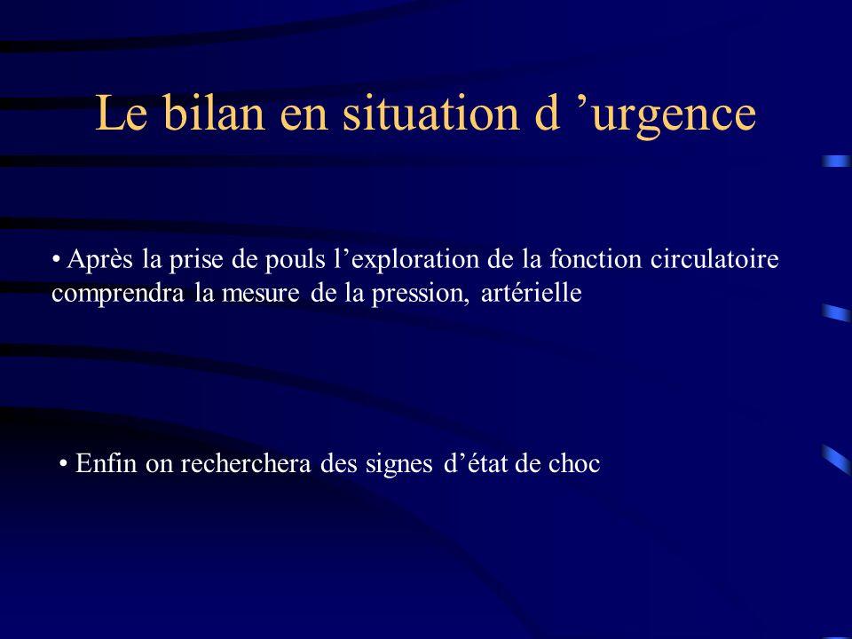 Le bilan en situation d urgence Après la prise de pouls lexploration de la fonction circulatoire comprendra la mesure de la pression, artérielle Enfin