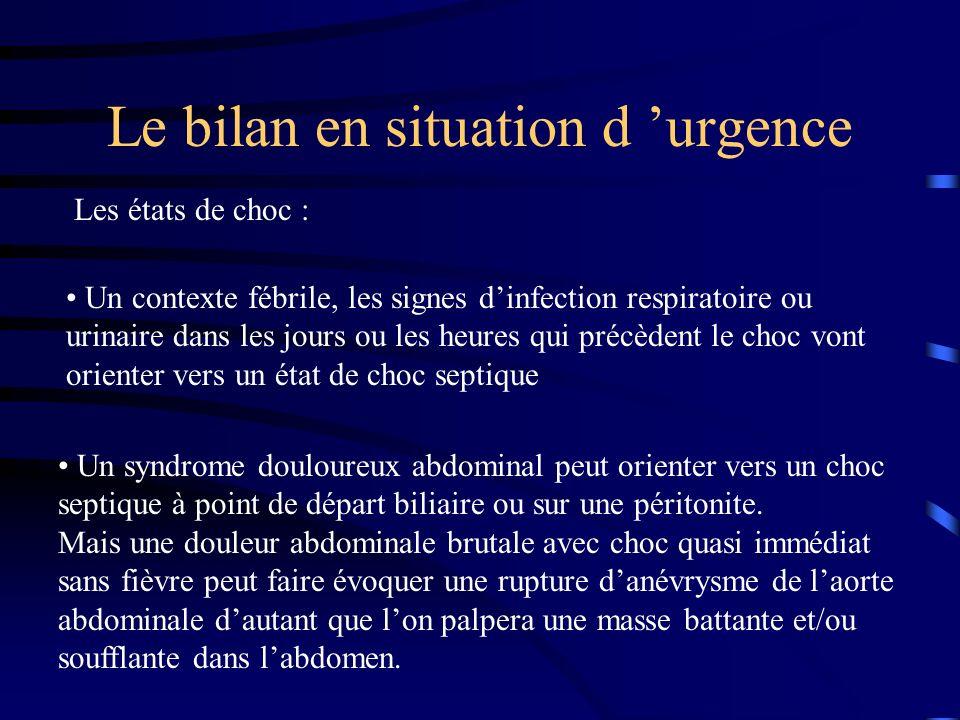 Le bilan en situation d urgence Les états de choc : Un contexte fébrile, les signes dinfection respiratoire ou urinaire dans les jours ou les heures q