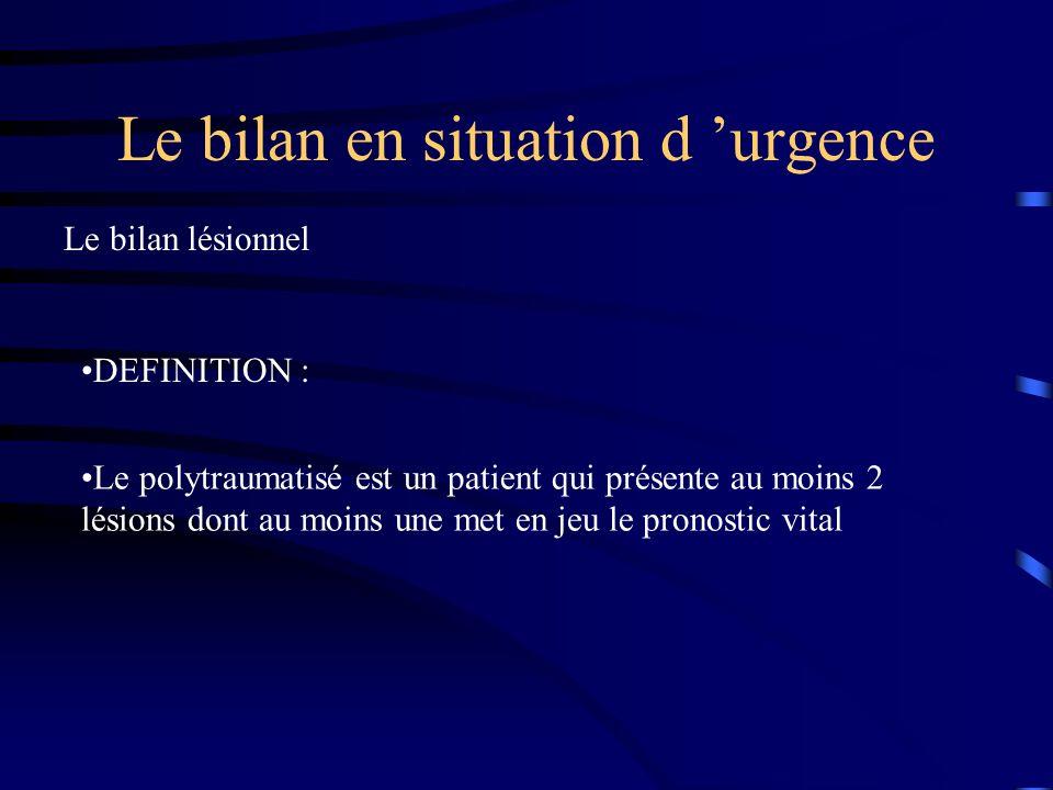 Le bilan en situation d urgence DEFINITION : Le polytraumatisé est un patient qui présente au moins 2 lésions dont au moins une met en jeu le pronosti