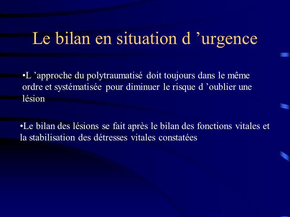 Le bilan en situation d urgence L approche du polytraumatisé doit toujours dans le même ordre et systématisée pour diminuer le risque d oublier une lé