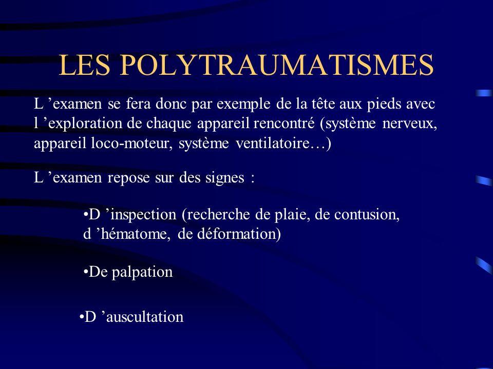 LES POLYTRAUMATISMES L examen se fera donc par exemple de la tête aux pieds avec l exploration de chaque appareil rencontré (système nerveux, appareil