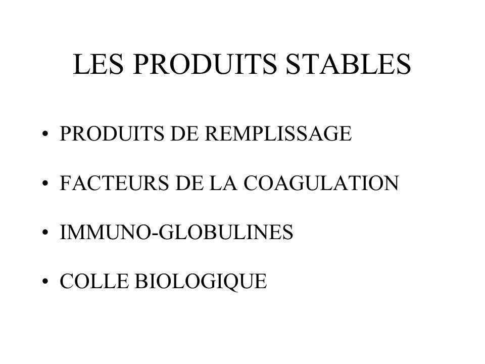 LES PRODUITS STABLES PRODUITS DE REMPLISSAGE FACTEURS DE LA COAGULATION IMMUNO-GLOBULINES COLLE BIOLOGIQUE