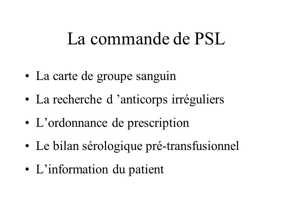 La commande de PSL La carte de groupe sanguin La recherche d anticorps irréguliers Lordonnance de prescription Le bilan sérologique pré-transfusionnel