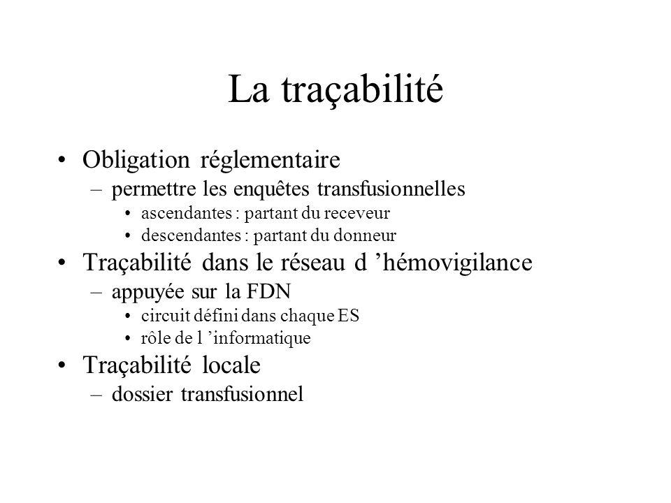 La traçabilité Obligation réglementaire –permettre les enquêtes transfusionnelles ascendantes : partant du receveur descendantes : partant du donneur