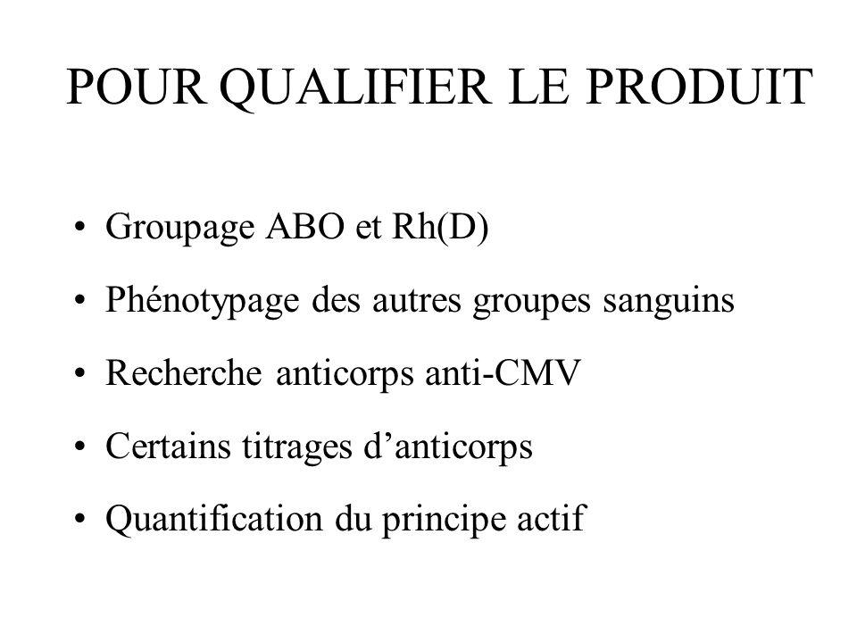 POUR QUALIFIER LE PRODUIT Groupage ABO et Rh(D) Phénotypage des autres groupes sanguins Recherche anticorps anti-CMV Certains titrages danticorps Quan