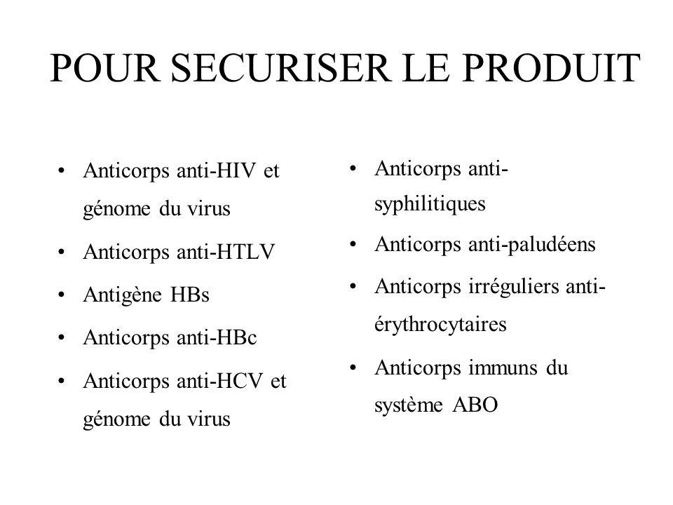 POUR SECURISER LE PRODUIT Anticorps anti-HIV et génome du virus Anticorps anti-HTLV Antigène HBs Anticorps anti-HBc Anticorps anti-HCV et génome du vi