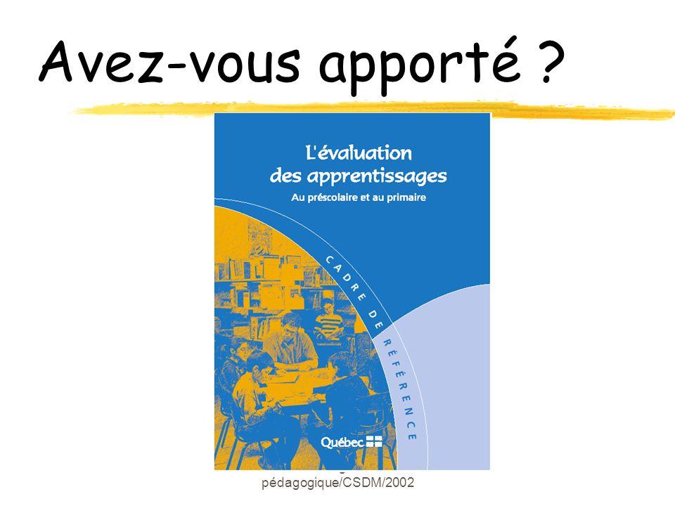 Marie-Josée Langlois/Conseillère pédagogique/CSDM/2002 Avez-vous apporté ?