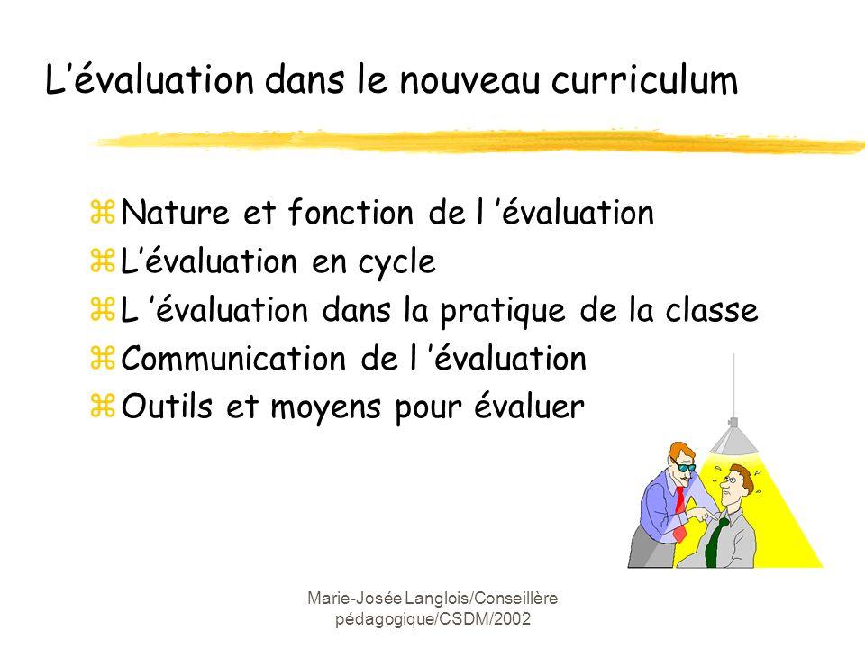 Marie-Josée Langlois/Conseillère pédagogique/CSDM/2002 Lévaluation dans le nouveau curriculum zNature et fonction de l évaluation zLévaluation en cycl