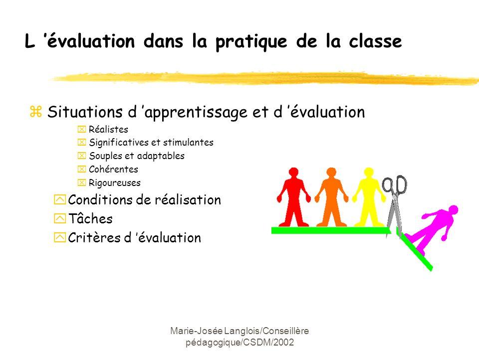 Marie-Josée Langlois/Conseillère pédagogique/CSDM/2002 L évaluation dans la pratique de la classe zSituations d apprentissage et d évaluation xRéalist