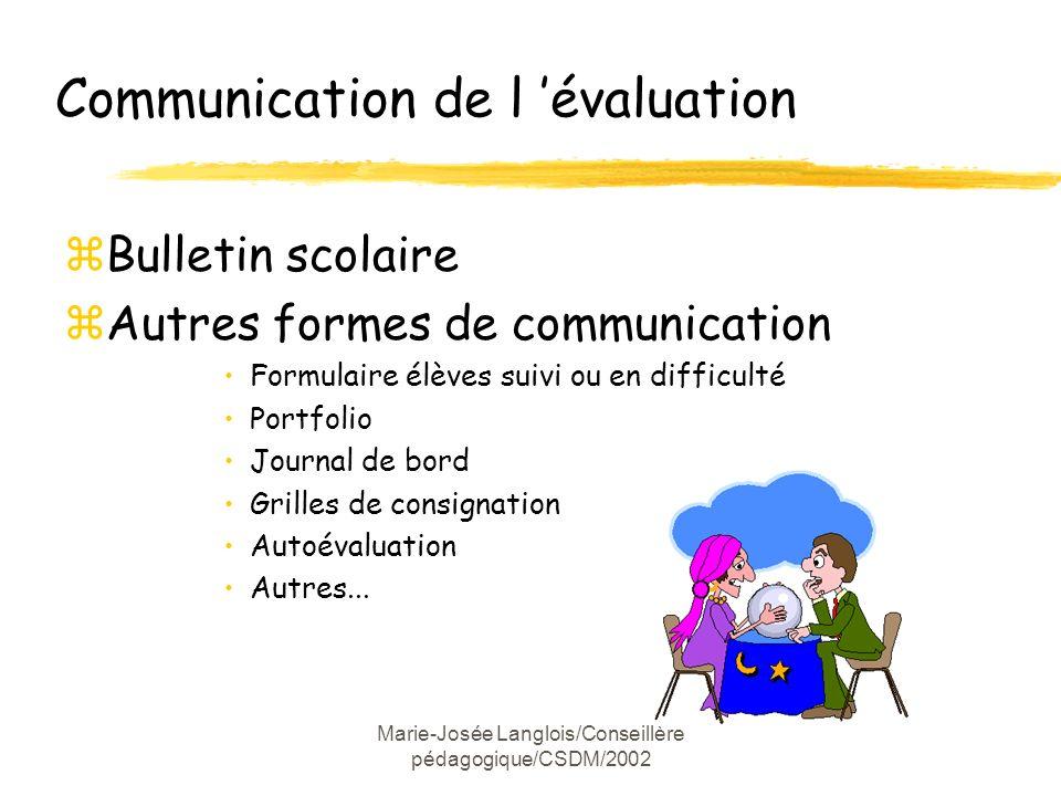 Marie-Josée Langlois/Conseillère pédagogique/CSDM/2002 Communication de l évaluation zBulletin scolaire zAutres formes de communication Formulaire élè