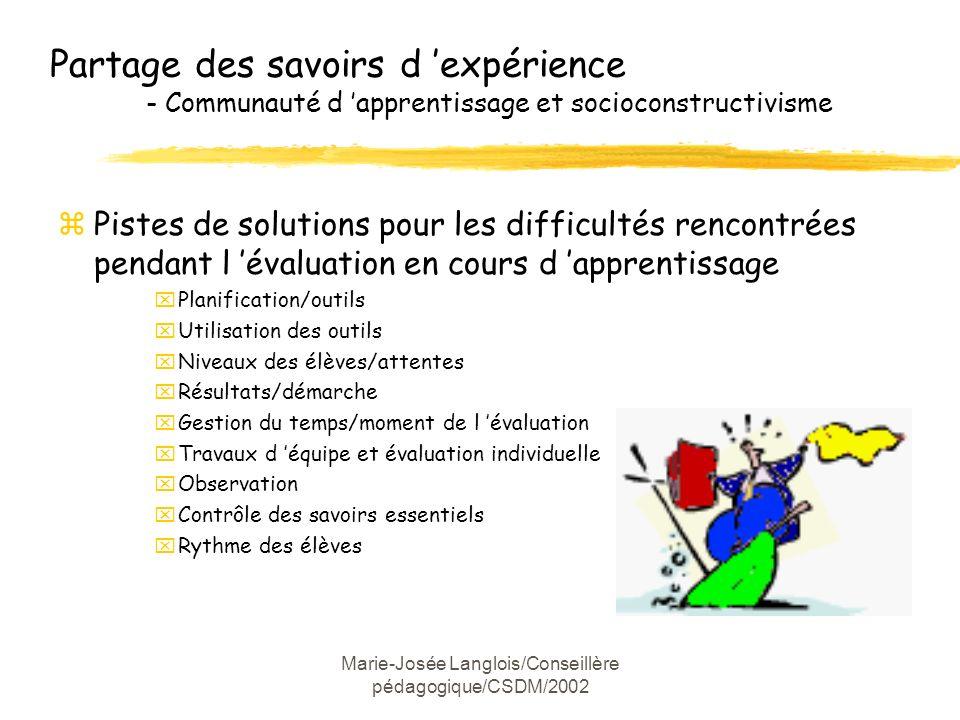 Marie-Josée Langlois/Conseillère pédagogique/CSDM/2002 Partage des savoirs d expérience - Communauté d apprentissage et socioconstructivisme zPistes d