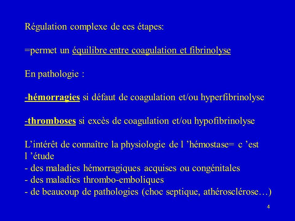 4 Régulation complexe de ces étapes: =permet un équilibre entre coagulation et fibrinolyse En pathologie : -hémorragies si défaut de coagulation et/ou