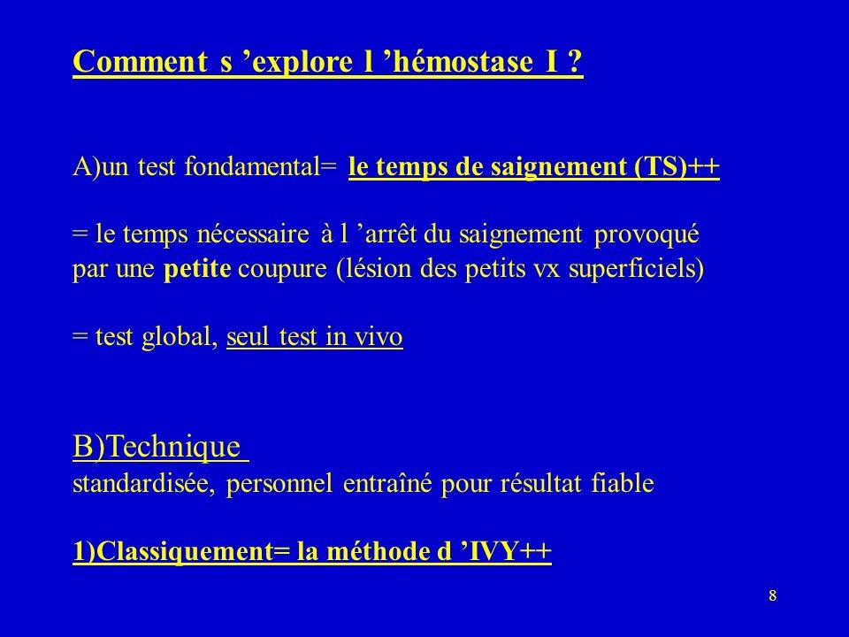 8 Comment s explore l hémostase I ? A)un test fondamental= le temps de saignement (TS)++ = le temps nécessaire à l arrêt du saignement provoqué par un