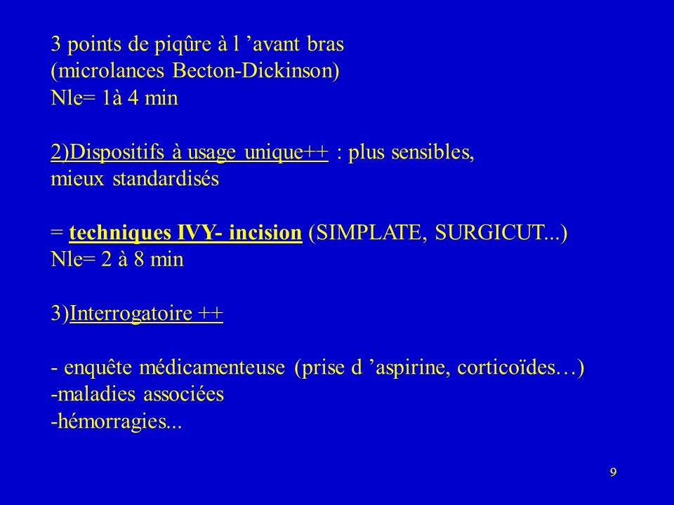 30 Dosage réalisé à J2, entre la 3ième et la 4ième h après l injection Thrombopénies à l héparine 2 types: - précoces, modérées (>100000 ): 2- 3 premiers j= bénignes poursuite possible.