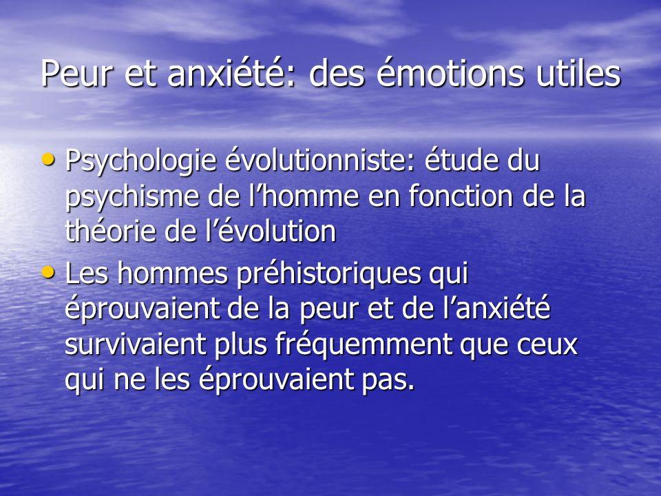 Peur et anxiété: des émotions utiles Psychologie évolutionniste: étude du psychisme de lhomme en fonction de la théorie de lévolution Psychologie évol