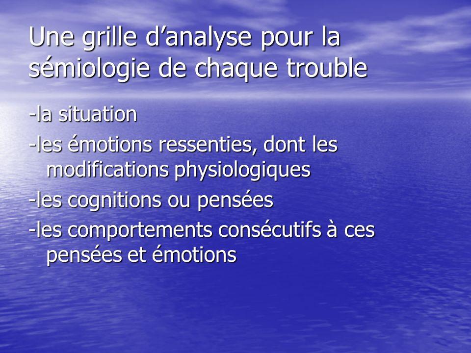 Une grille danalyse pour la sémiologie de chaque trouble -la situation -les émotions ressenties, dont les modifications physiologiques -les cognitions ou pensées -les comportements consécutifs à ces pensées et émotions
