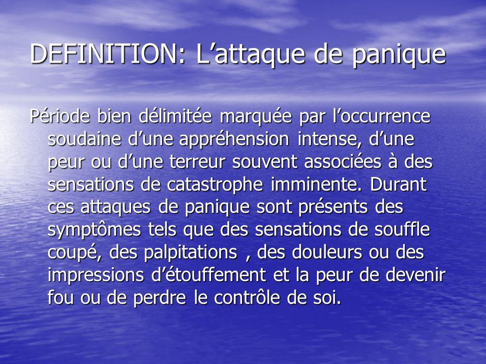 DEFINITION: Lattaque de panique Période bien délimitée marquée par loccurrence soudaine dune appréhension intense, dune peur ou dune terreur souvent a