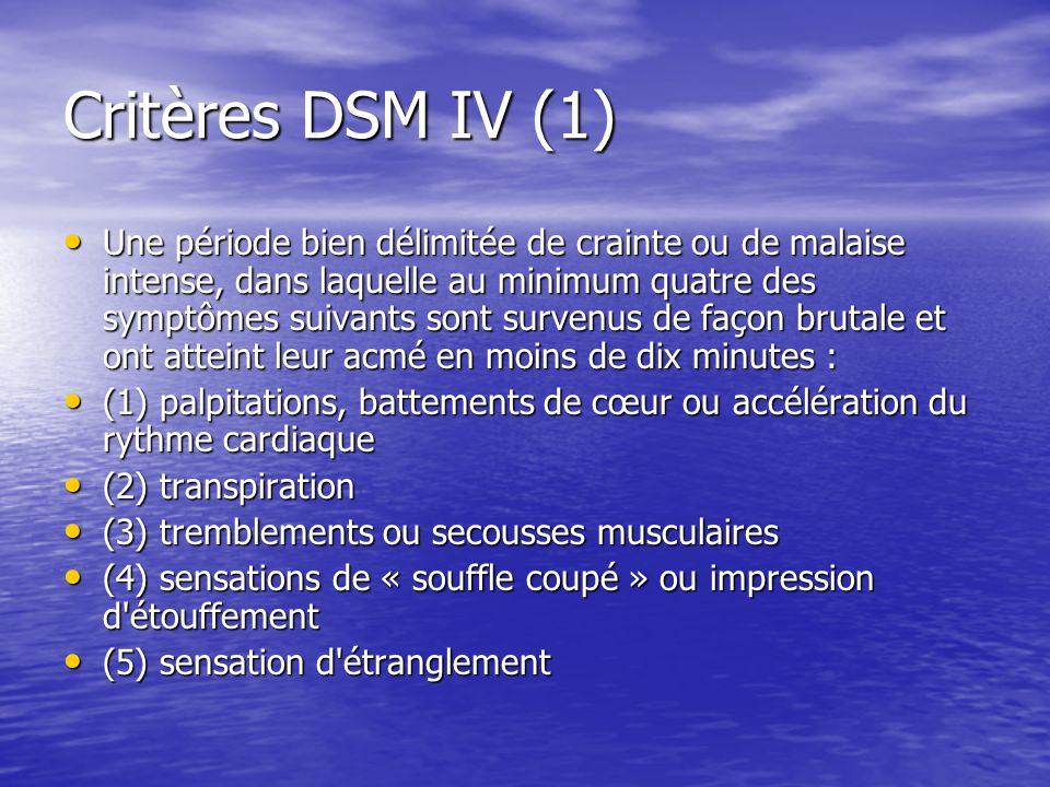 Critères DSM IV (1) Une période bien délimitée de crainte ou de malaise intense, dans laquelle au minimum quatre des symptômes suivants sont survenus de façon brutale et ont atteint leur acmé en moins de dix minutes : Une période bien délimitée de crainte ou de malaise intense, dans laquelle au minimum quatre des symptômes suivants sont survenus de façon brutale et ont atteint leur acmé en moins de dix minutes : (1) palpitations, battements de cœur ou accélération du rythme cardiaque (1) palpitations, battements de cœur ou accélération du rythme cardiaque (2) transpiration (2) transpiration (3) tremblements ou secousses musculaires (3) tremblements ou secousses musculaires (4) sensations de « souffle coupé » ou impression d étouffement (4) sensations de « souffle coupé » ou impression d étouffement (5) sensation d étranglement (5) sensation d étranglement