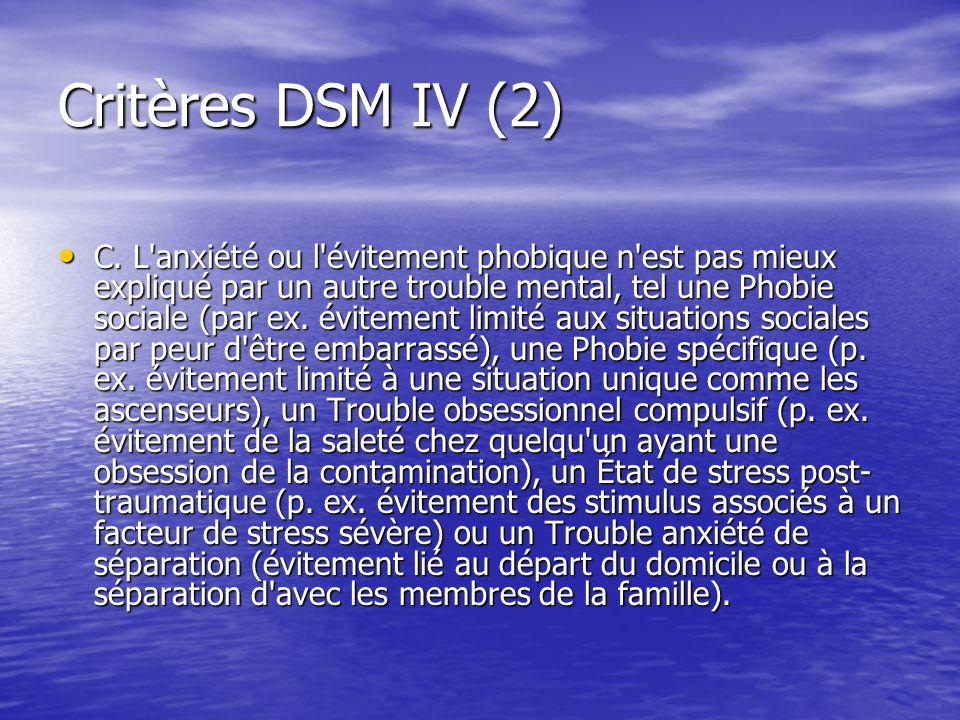 Critères DSM IV (2) C. L'anxiété ou l'évitement phobique n'est pas mieux expliqué par un autre trouble mental, tel une Phobie sociale (par ex. éviteme