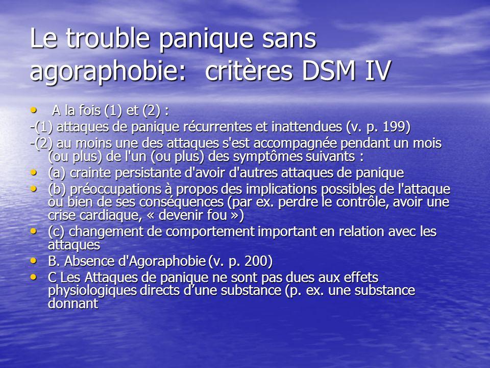 Le trouble panique sans agoraphobie: critères DSM IV A la fois (1) et (2) : A la fois (1) et (2) : -(1) attaques de panique récurrentes et inattendues (v.