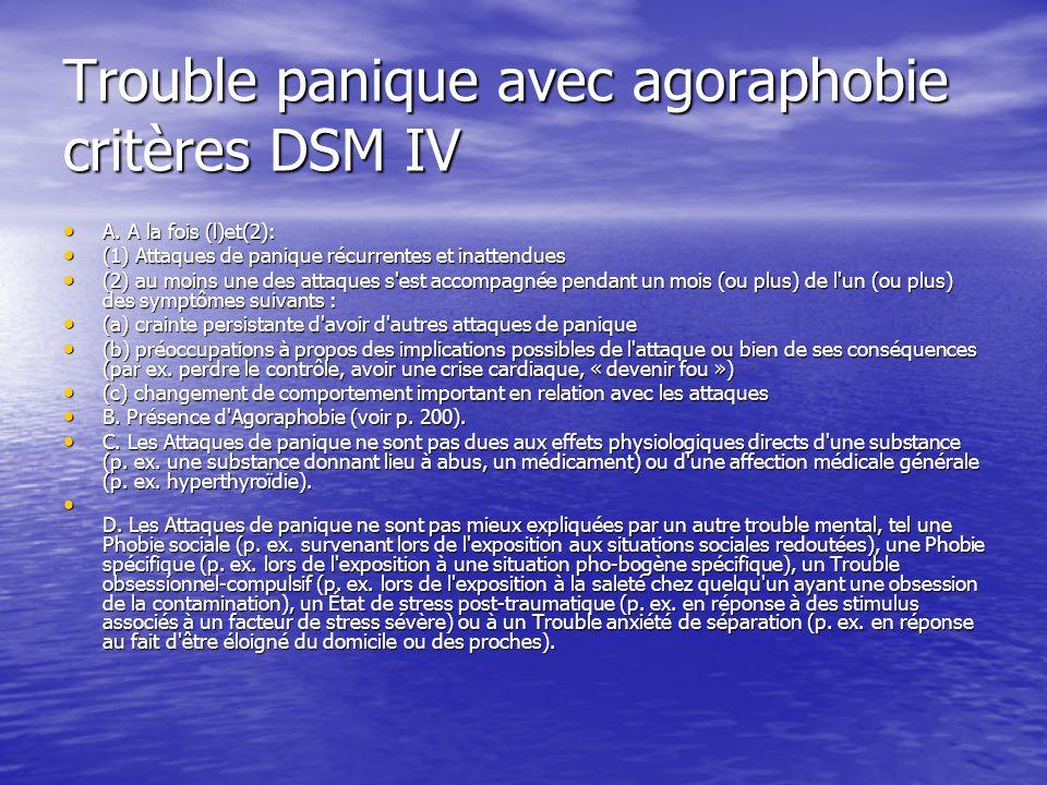 Trouble panique avec agoraphobie critères DSM IV A. A la fois (l)et(2): A. A la fois (l)et(2): (1) Attaques de panique récurrentes et inattendues (1)